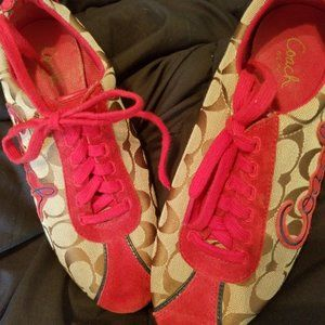 Coach Red/Brown C Canvas Low Top Sneakers - 8M